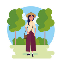 Woman wearing hat with bag and trees with bushes vector