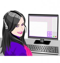 Young beautiful girl telephone operator vector