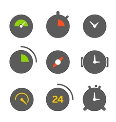 Different clocks color collection vector image vector image