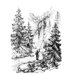 Fisherman fishing in mountains river vector image vector image