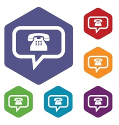 Telephone conversation rhombus icons vector image