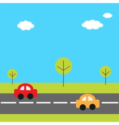 Background with grass trees road and cartoon cars vector image