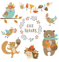Cute autumn forest animals vector image vector image