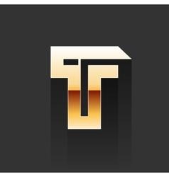 Gold Letter T Shape Logo Element vector image vector image