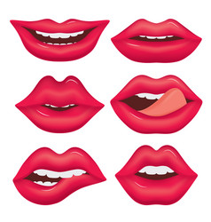 Set of female lips on a white background various vector