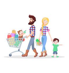 Family shopping cartoon flat concept vector