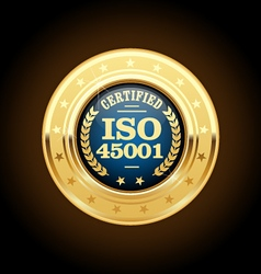 Iso 45001 standard medal - health and safety vector