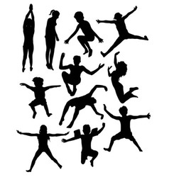 Kids Playing in the Pool Silhouettes vector image vector image