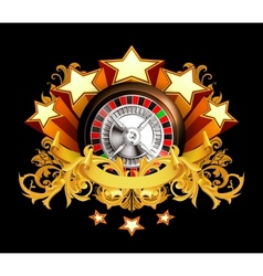 Roulette insignia on black vector image