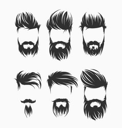 set of men hairstyle with beard mustache vector image