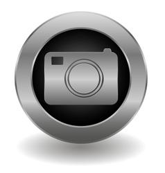 Metallic camera button vector image