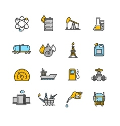 Oil Industry Outline Icon Color Set vector image vector image