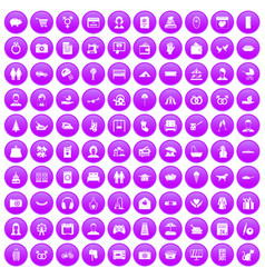 100 family icons set purple vector