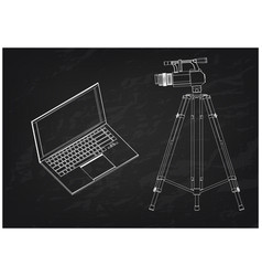 3d model of laptop and camcorder with a tripod vector image