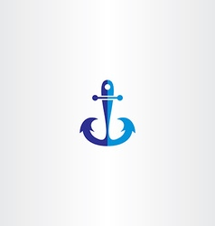 anchor icon blue symbol vector image