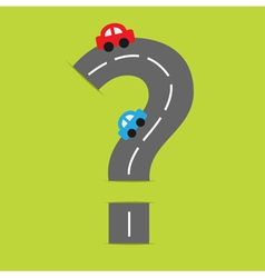Background road big question mark and cartoon cars vector