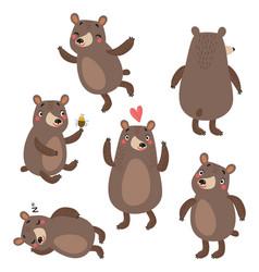 Bears cute set vector