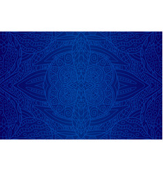beautiful art with seamless blue ethnic pattern vector image