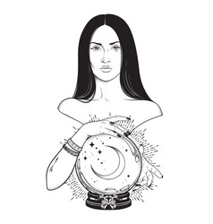 Beautiful brunette witch with magic crystal ball vector