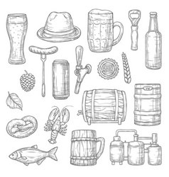 Beer isolated sketches alcohol drink brewery vector