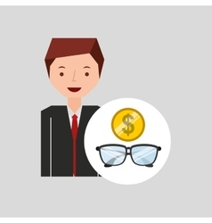 business man cartoon and glasses money vector image