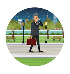 Business man talk walking street view night vector