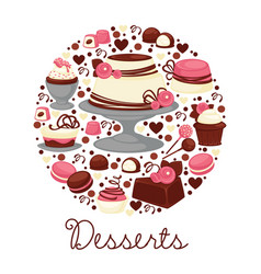 cakes and cupcakes or macaroons chocolate and vector image