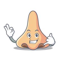 Call me nose mascot cartoon style vector