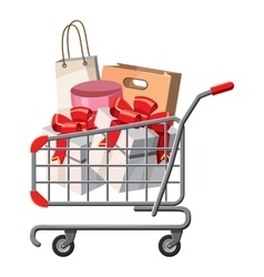 Cart on wheels with shopping icon cartoon style vector