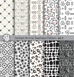 Cartoon animal seamless patterns vector