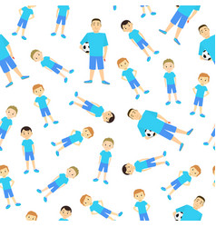 cartoon character kids football team seamless vector image
