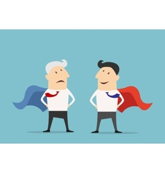 Cartoon Super hero businessman characters vector image