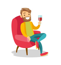 Caucasian white man drinking wine in the chair vector