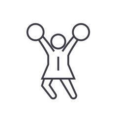 Cheerleader linear icon sign symbol on vector