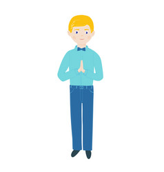 Christian boy pray with folded hands in prayer and vector