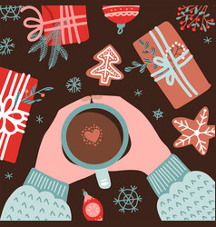 Christmas and new year cozy composition with human vector