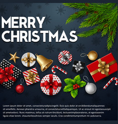 christmas blue background with elements vector image
