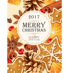 Christmas card with mulled wine ingredients vector