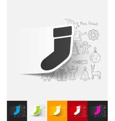 christmas sock paper sticker with hand drawn vector image