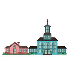 Church in neighborhood isolated icon vector