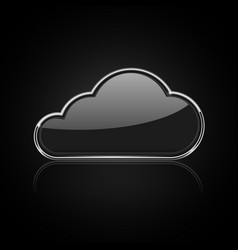 Cloud icon shiny black 3d icon with chrome frame vector