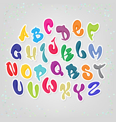 colored cartoon comic font alphabet latin abc vector image