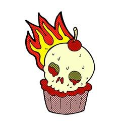 comic cartoon halloween cup cake vector image
