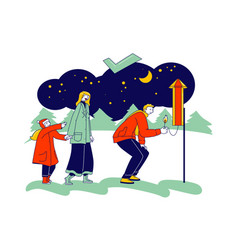 Correct way to set off fireworks happy family vector