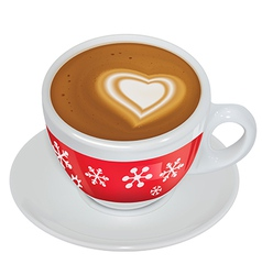 Cup of coffee with milk on a saucer vector image