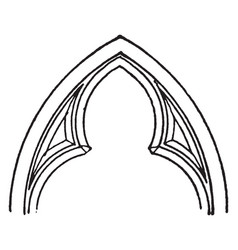 Cusps chamfer tracery vintage engraving vector