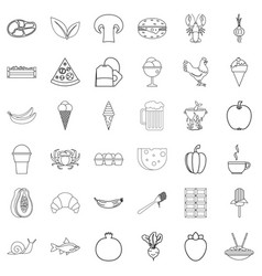 dinner icons set outline style vector image