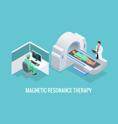 Doctor looking at results of patient brain scan on vector