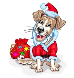 Dog with Christmas gifts Santa Claus vector image