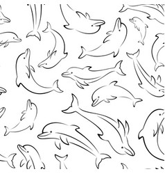dolphin contours seamless vector image